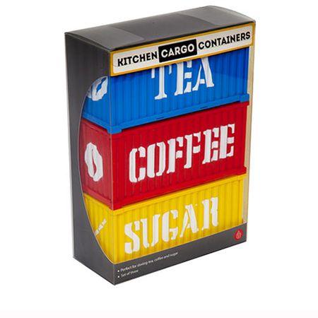 Porta Alimentos Containers Açúcar, Café e Chá - 3 pecas