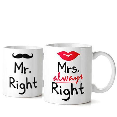 Caneca Casamento Casal sempre Certo Always Right - 2 pecas