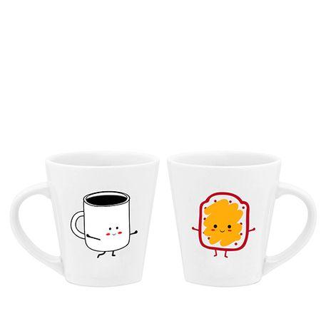Canecas Cafe e Torrada Amigos Inseparaveis - 2 pecas