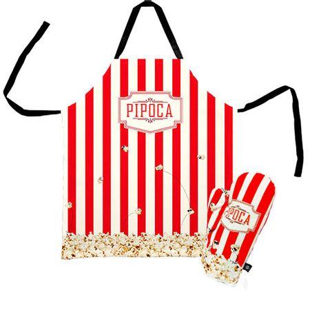Avental de Cozinha e Luva de Cozinha Pipoca Pipoqueiro Kit - 2 pecas