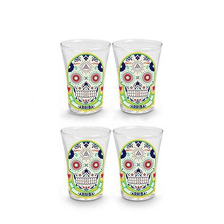 Copos de Tequila Caveiras Mexicanas Color - 4 pecas