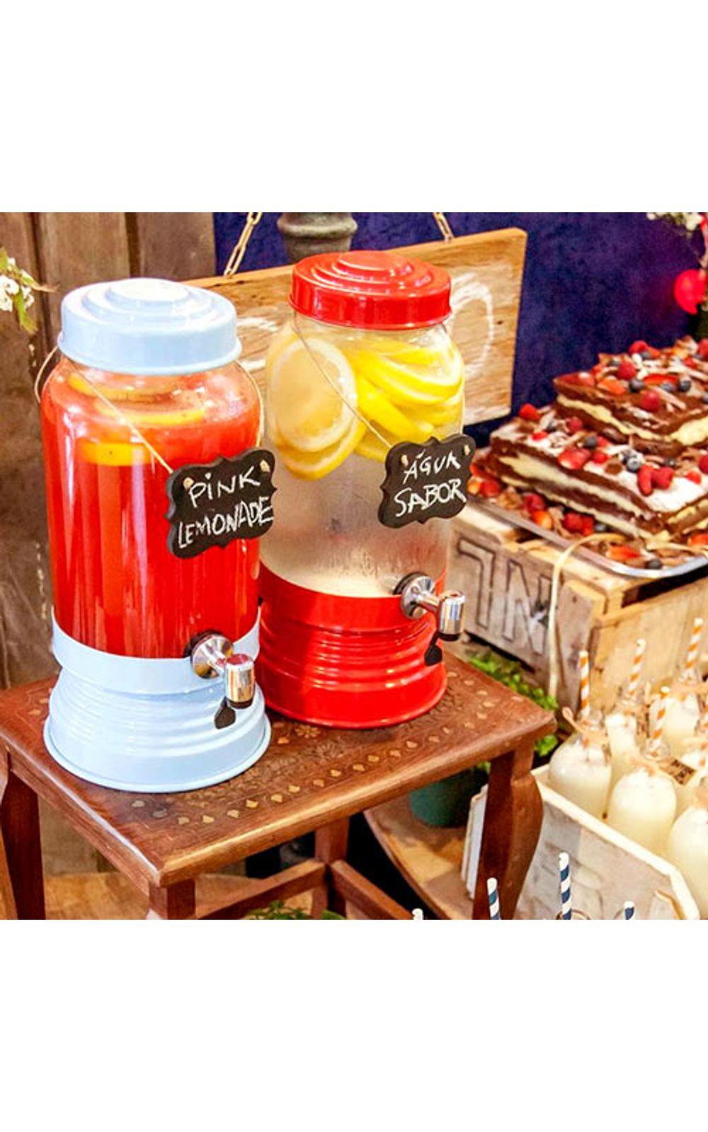 Foto 3 - Suqueira de Vidro 3,2 litros Vermelha Metalizada