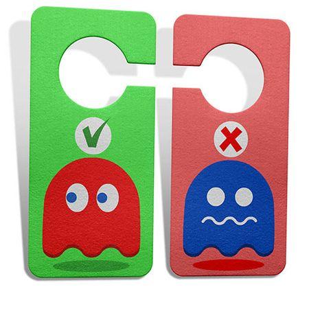 Aviso de Porta Ecologico Gamer Pac Man Fantasmas Ghost