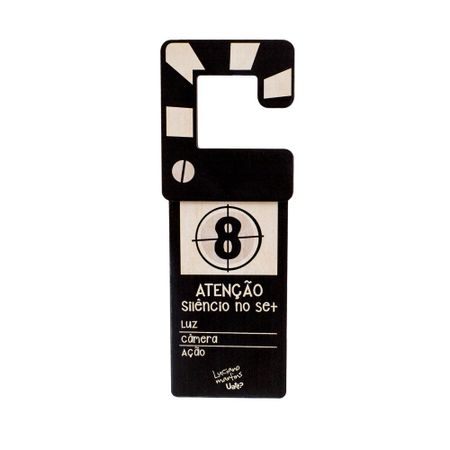 Aviso de Porta Claquete Luz, Camera e Ação