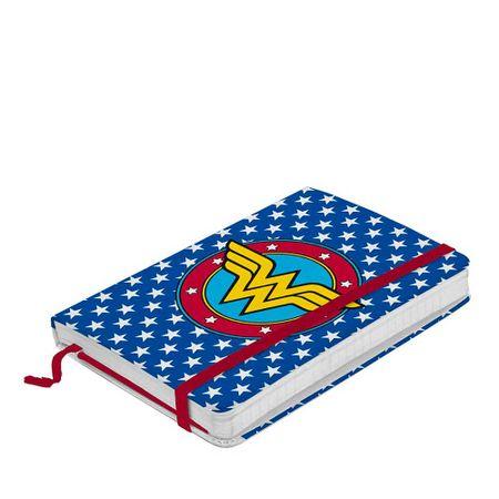 Caderno de Anotação com Elástico Mulher Maravilha Logo Dc Comics