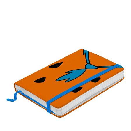 Caderno de Anotação com Elástico Fred Gravata Azul Flintstones Hanna Barbera
