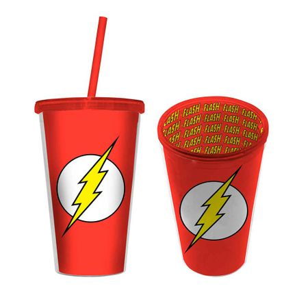 Copo com Canudo The Flash DC Comics