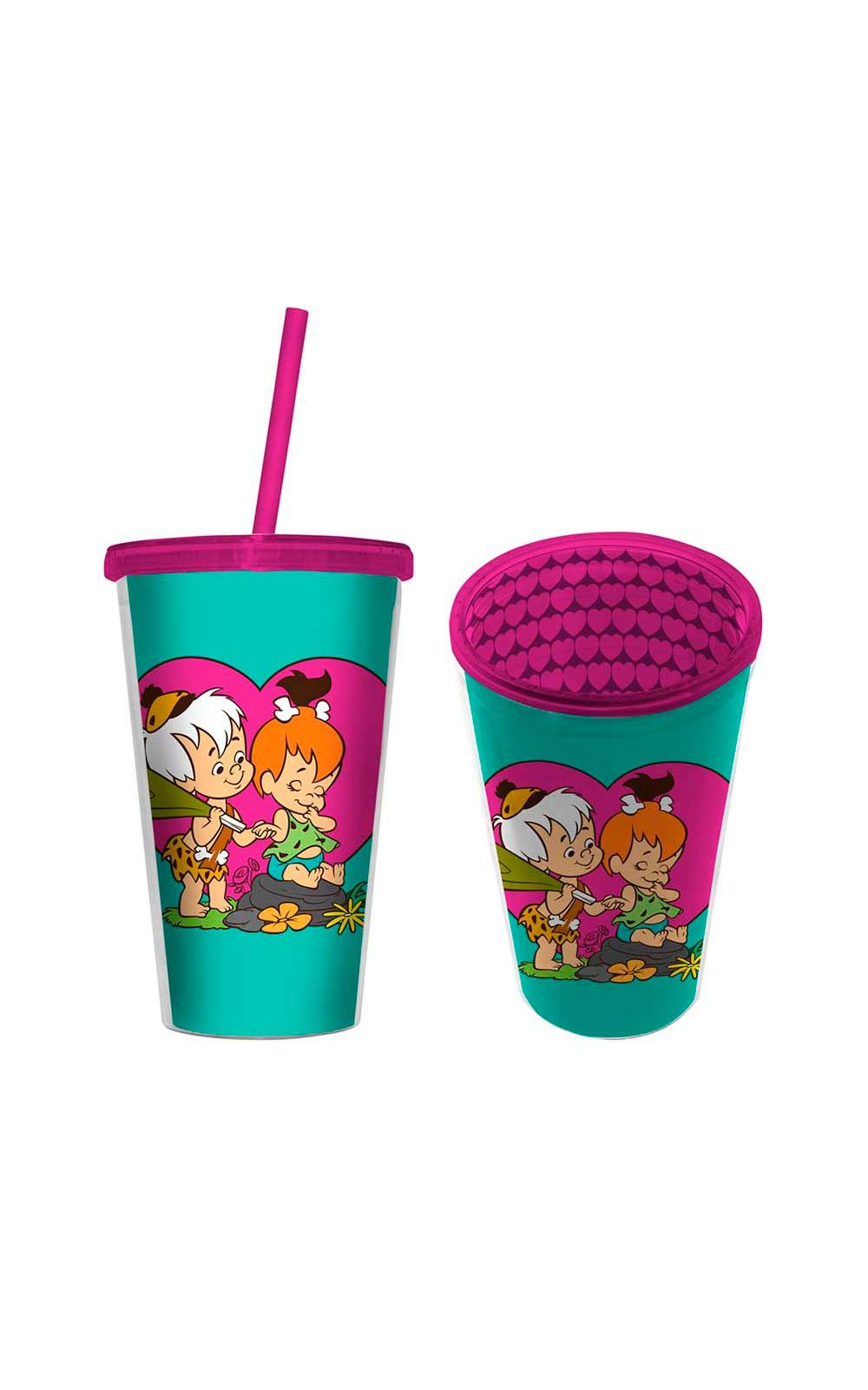 Foto 1 - Copo com Canudo Pedrida e BamBam Os Flinstones Hanna Barbera