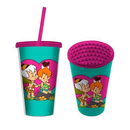 Copo com Canudo Pedrida e BamBam Os Flinstones Hanna Barbera