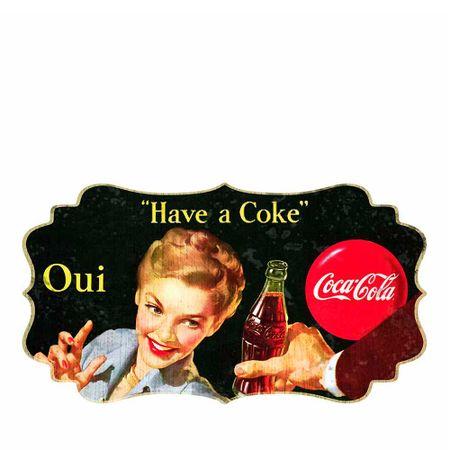 Placa de Parede em MDF Coca-Cola Blond Lady Oui Colorido