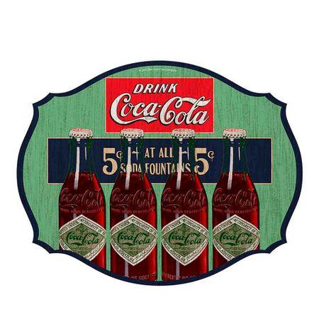 Placa de Parede em MDF Coca-Cola Four Bottles Colorido