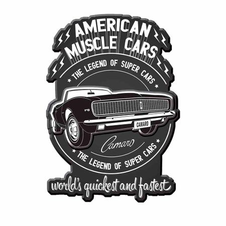 Placa Decorativa de Metal Recortada American Muscle Car GM Chevrolet