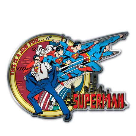 Placa Decorativa de Metal Recortada Super Homem Transformacao DC Comics