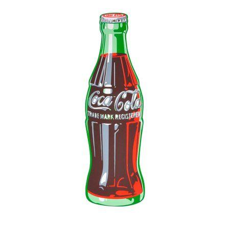 Placa de Madeira Contour Bottle Sing Colorido Coca-Cola