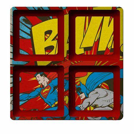 Petisqueira Quadrada Batman e Super Homem Vermelha Dc Comics - 4 Divisorias