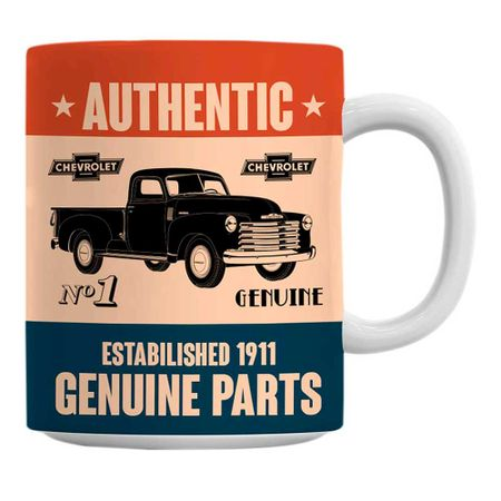 Caneca Carro Genuine Parts Azul GM Chevrolet