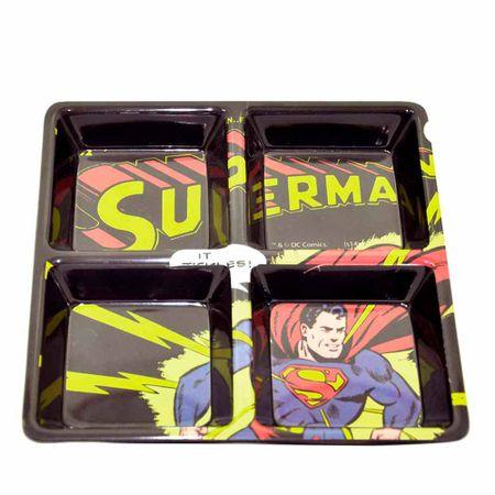 Petisqueira Quadrada Super Homem Dc Comics Preta - 4 Divisorias