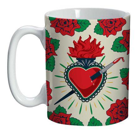 Mini Caneca Frida Kahlo Coração e Rosas Amor
