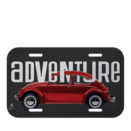 Placa de Metal Carro Fusca Vermelho Volkswagen