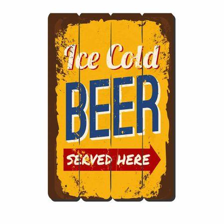 Placa Decorativa em MDF Ripado Cerveja Ice Cold Beer