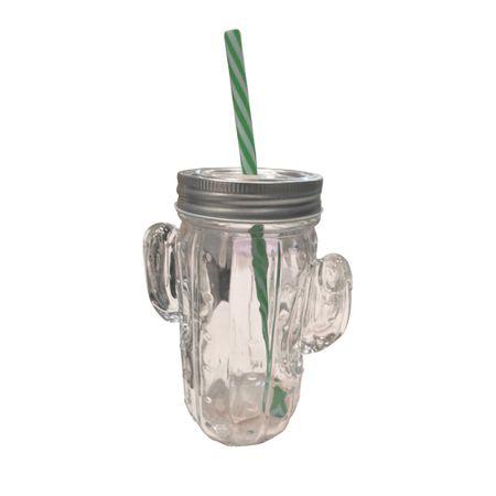 Copo com Canudo Cacto Cactus Transparente