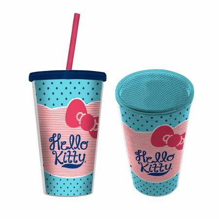 Copo com Canudo Hello Kitty Azul e Rosa