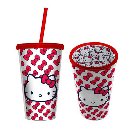 Copo com Canudo Hello Kitty Laço Vermelho