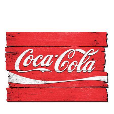 Placa Decorativa em MDF Ripado Coca Cola