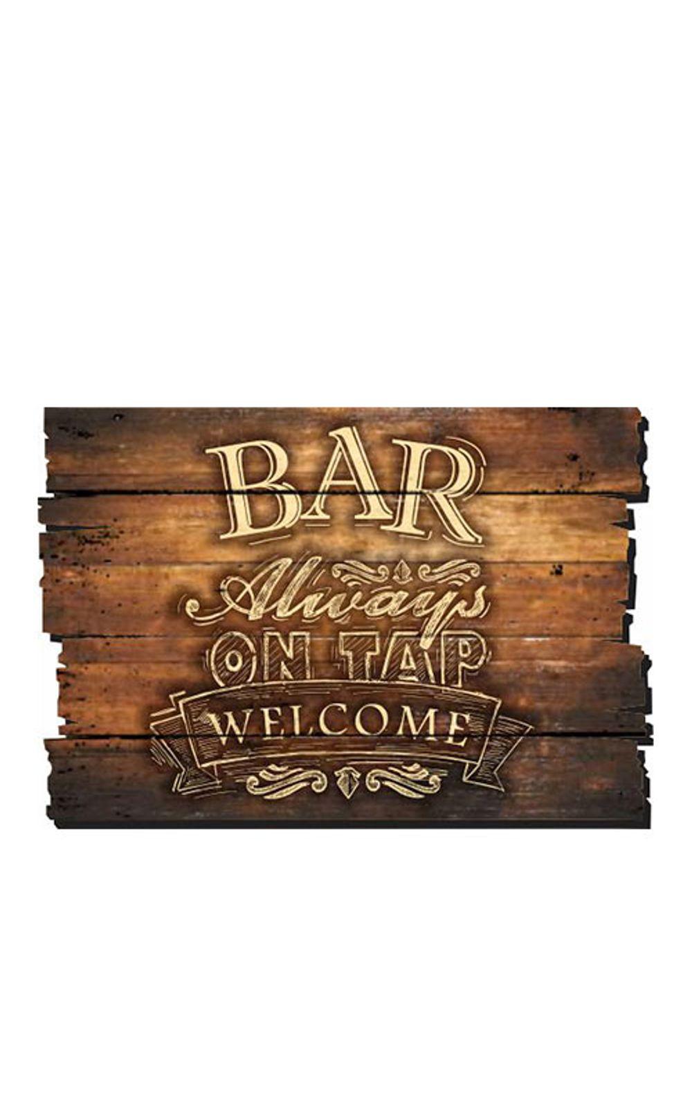 Foto 1 - Placa Decorativa em MDF Ripado Bar Always on tap Welcome