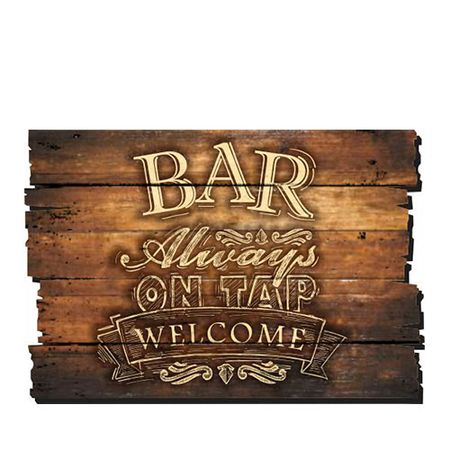 Placa Decorativa em MDF Ripado Bar Always on tap Welcome