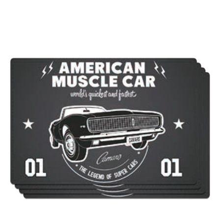 Jogo Americano Carro Camaro Amerian Muscle GM Chevrolet - 4 Unidades